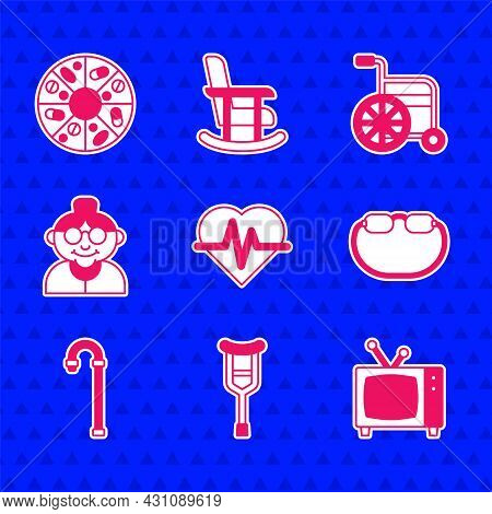 Set Heart Rate, Crutch Or Crutches, Retro Tv, Eyeglasses, Walking Stick Cane, Grandmother, Wheelchai