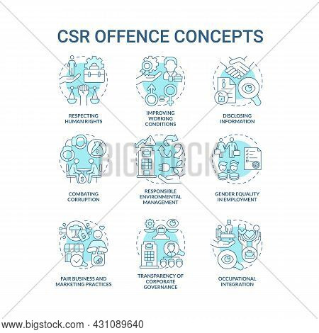 Corporate Social Responsibility Offence Blue Concept Icons Set. Work Rights. Voluntary Policies And