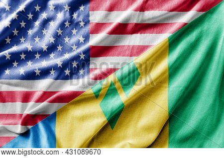 Mixed Usa And Saint Vincent And The Grenadines Flag, Three Dimensional Render
