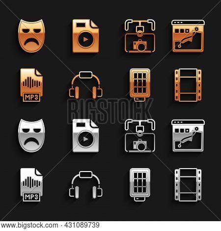 Set Headphones, Histogram Graph Photography, Play Video, Softbox Light, Mp3 File Document, Gimbal St