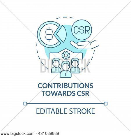 Contributions Towards Csr Blue Concept Icon. Business Donates Money And Services Abstract Idea Thin