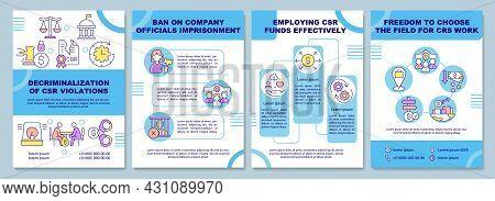 Decriminalization Of Csr Violations Brochure Template. Flyer, Booklet, Leaflet Print, Cover Design W