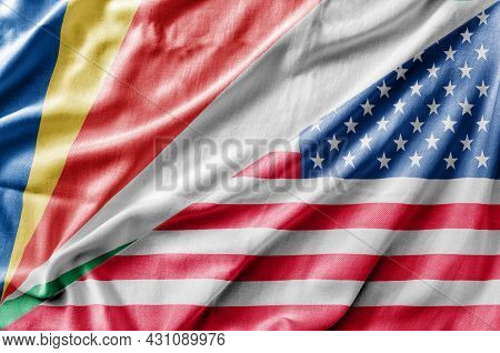 Mixed Usa And Seychelles Flag, Three Dimensional Render