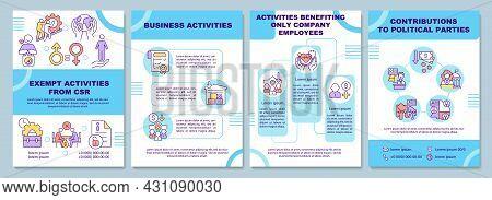 Corporate Social Responsibility Exempt Activities Brochure Template. Flyer, Booklet, Leaflet Print,
