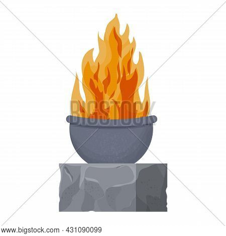 Fireplace, Medieval Castle Torch On Stone In Cartoon Style Isolated On White Background. Textured An