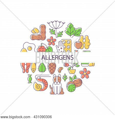 Allergens Abstract Color Concept Layout With Headline. Allergy Reaction Reasons Creative Idea. Pharm