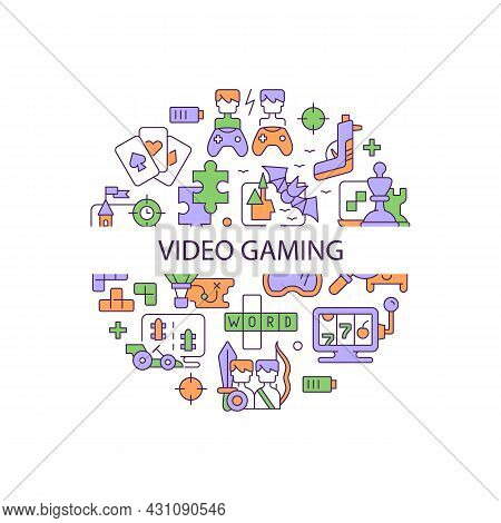 Video Game Abstract Color Concept Layout With Headline. Digital Entertainment. Gamers And Players Co