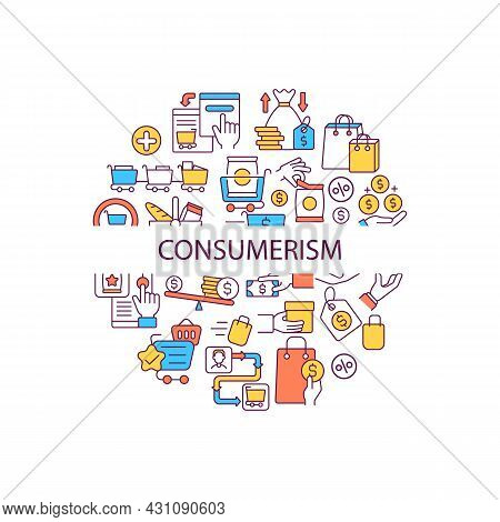 Consumerism Abstract Color Concept Layout With Headline. Sale For Product. Special Offer For Shoppin