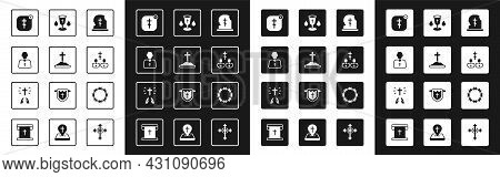 Set Grave With Tombstone, Cross, Priest, Online Church Pastor Preaching, Christian Chalice, Crown Of