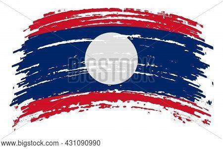 Laos Flag In Grunge Brush Stroke, Vector Image