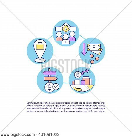 Participating In Csr Activities Concept Line Icons With Text. Ppt Page Vector Template With Copy Spa