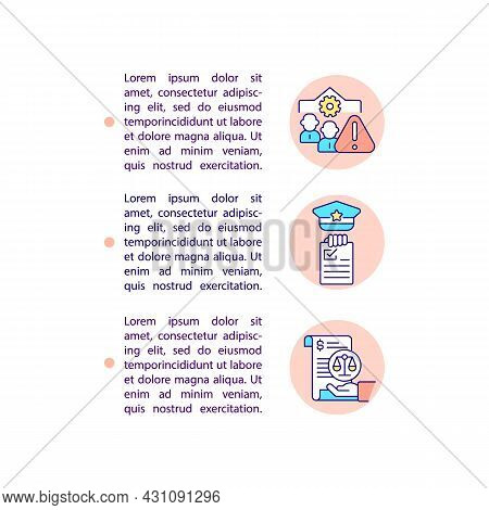 Fines For Companies Concept Line Icons With Text. Ppt Page Vector Template With Copy Space. Brochure