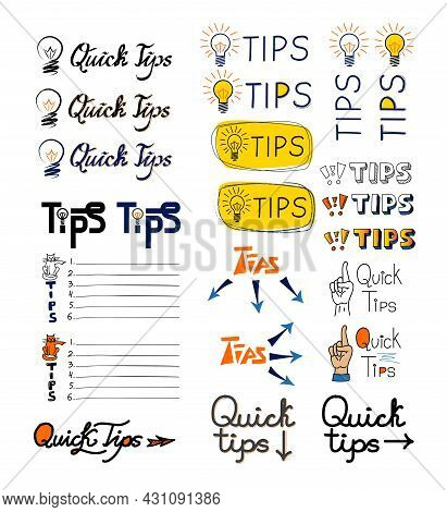 Set Of Tip Lists, Quick Tips, Advices, Helpful Tricks, Tooltip Hint. Abstract Banners With Useful In