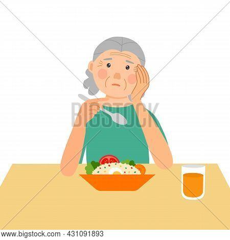 Senior Woman Feel Not Hungry Concept Vector Illustration On White Background. Old Female Unable To E