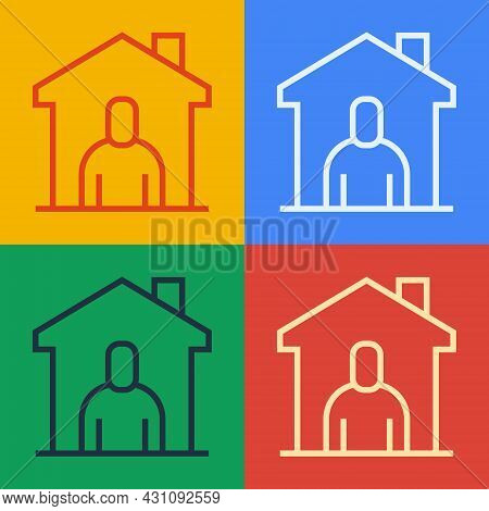 Pop Art Line Shelter For Homeless Icon Isolated On Color Background. Emergency Housing, Temporary Re