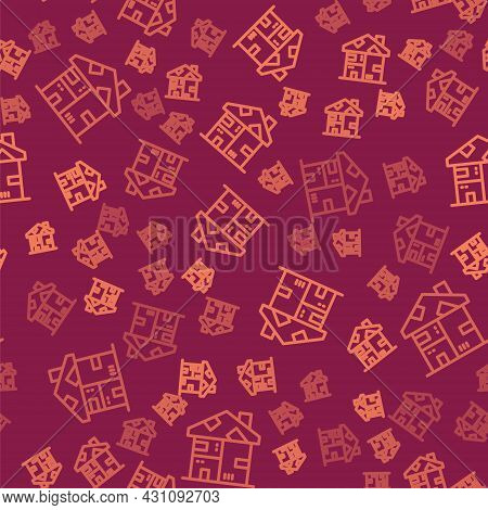 Brown Line Homeless Cardboard House Icon Isolated Seamless Pattern On Red Background. Vector