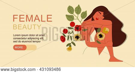 Flat Female Beauty Banner With Beautiful Dark Haired Woman With Bunch Of Flowers Horizontal Vector I