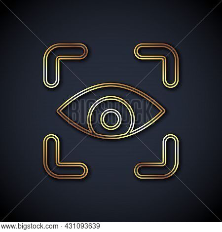 Gold Line Eye Scan Icon Isolated On Black Background. Scanning Eye. Security Check Symbol. Cyber Eye
