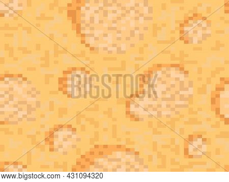 Cheese 8 Bit Pixel Art Seamless Pattern. Pixel Cheese With Holes In 8 Bit Retro Video Game Graphics