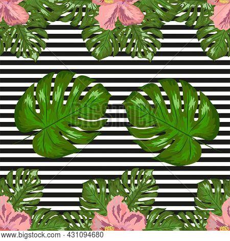 Floral Exotic Tropical Seamless Pattern Tropic Hawaiian Wallpaper. Botanical Print. Modern Floral Ba