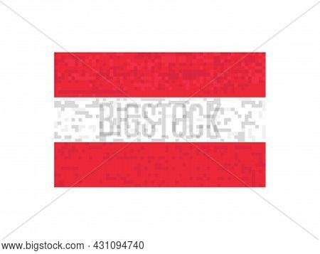Austria Flag Pixel Art. 8-bit Austria Flag Sign. Design For A Festive Banner And Poster. Vector Illu