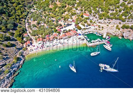Idyllic Beach In Beli On Cres Island Aerial View, Landscape Of Kvarner Region In Croatia