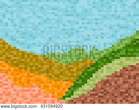 Pixel Landscape With Green Meadows And Hills. Retro 8-bit Video Game Of The 90s In 2d. Pixel Art Des