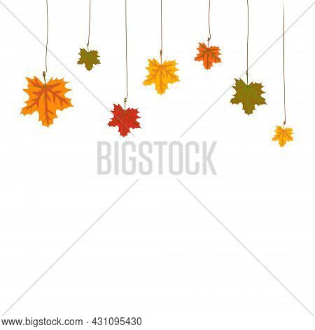 Frame Or Decoration Made Of Autumn Maple Leaves Hanging From Above By A Thread. Empty Space For Disc