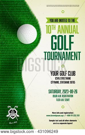 Golf Tournament Poster Template With Ball, Grass Texture And Copy Space For Your Text - Vector Illus
