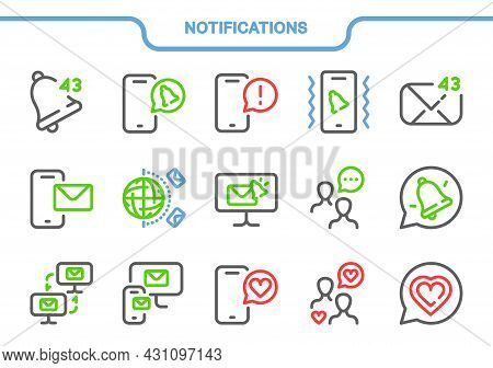 Vector Icon Set. Notifications Collection: Bell, Call, Message, Vibration, New Message, Contact Us,