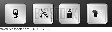 Set Newborn Baby Infant Swaddled, Baby Stroller, Bottle And T-shirt Icon. Silver Square Button. Vect