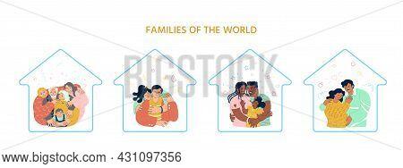 Four Happy Families Hugging. Latin American, African American, European, Caucasian, Asian. Parenthoo
