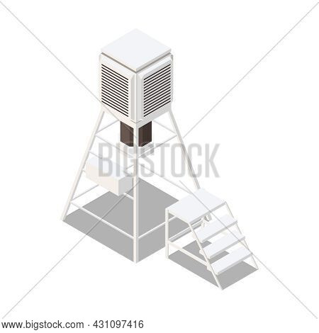 Meteorology Weather Forecast Isometric Composition With Weather Equipment Unit With Ladder Vector Il
