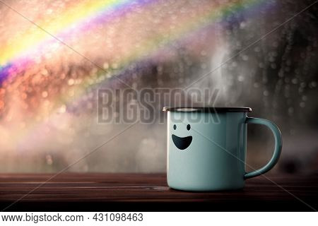 Happiness And Positive Mind, Mental Health Concept. Enjoying Coffee With Smiling Face Cartoon, Blurr