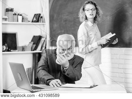 Student Study. Educational Activity. Educator And Student Classroom. Girl With Notepad Near Chalkboa