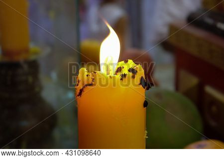 Candle Flame At Shrine Were Lit For Worship Gods, Tradition Of Chinese Festival In Thailand