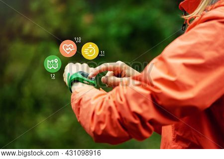 Sport Technology - Woman Using Fitness Tracker To Track Health And Exercise On Outdoor Workout