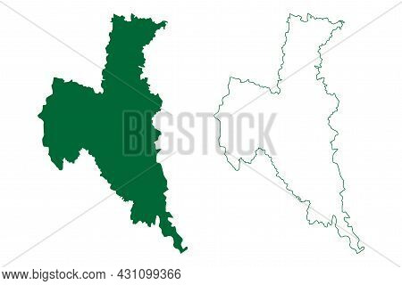 North 24 Parganas District (west Bengal State, Republic Of India) Map Vector Illustration, Scribble