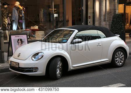 Dusseldorf, Germany - September 19, 2020: Vw New Beetle Small Convertible Car Parked In Germany. The
