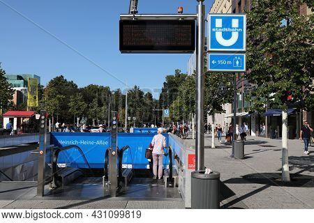 Dusseldorf, Germany - September 19, 2020: People Enter A Subway Station (u-bahn Or Stadtbahn) In Dow