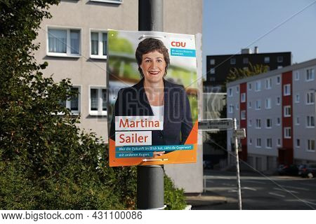 Wuppertal, Germany - September 19, 2020: Election Poster Of Cdu Political Party Before Runoff Vote F