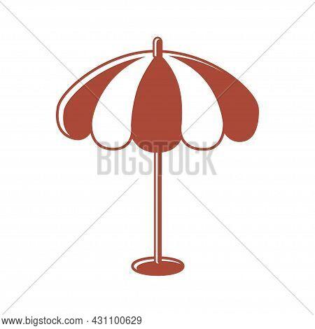 Beach Or Restaurant Striped Sunshade Umbrella Isolated.