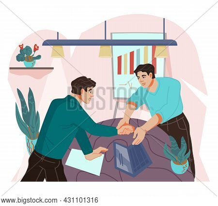 Business Agreement, Deal Conclusion Scene With Handshaking Men Cartoon Characters. Partnership Contr