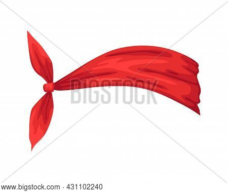 Retro Headband For Woman. Mockup Of Decorative Hair Knott. Red Bandana Windy Hair Dressing. Tied Han