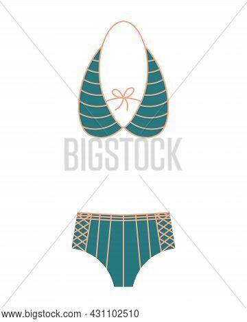 Fashion Swimsuit. Flat Icon Of Cartoon Trendy Female Beachwear. Two-piece Swimming Suit Or Bathing G