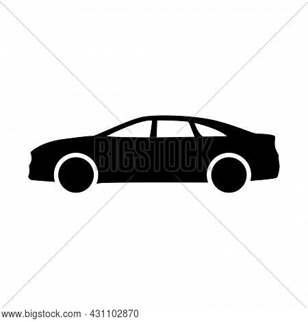 Car Transportation Vehicle Flat Auto Sedan Isolated Traffic Icon. Black Automobile Simple Side View