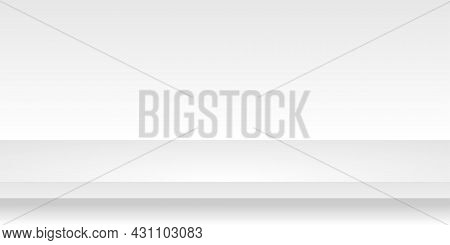 White 3d Shelf Vector Illustration On The Wall. Realistic Background Horizontal Mock Up Concept Empt