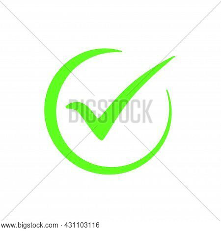 Green Checkmark Symbol, Vector Icon Of Completed Tick In Circle Isolated On White Background. Check