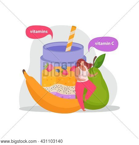 Healthy And Super Food Flat Icons Composition With Shake Drink And Fruits With Thought Bubbles And F