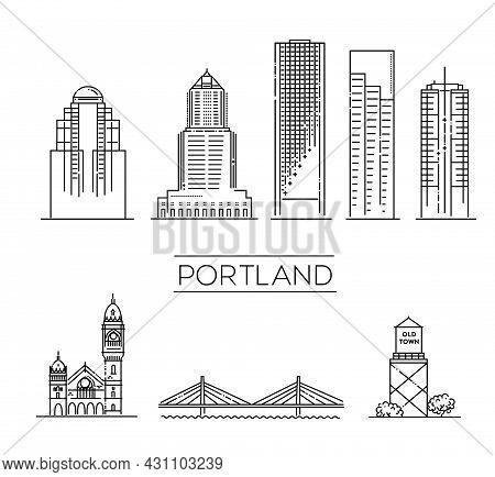 Portland, Oregon, Detailed Monuments Silhouette. Vector Illustration